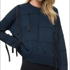 Helmut Lang Blue Ribbed Sweater with Black Ribbons